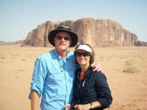 Don and Jennifer at Wadi Rum desert, in the country of Jordan, July 2010